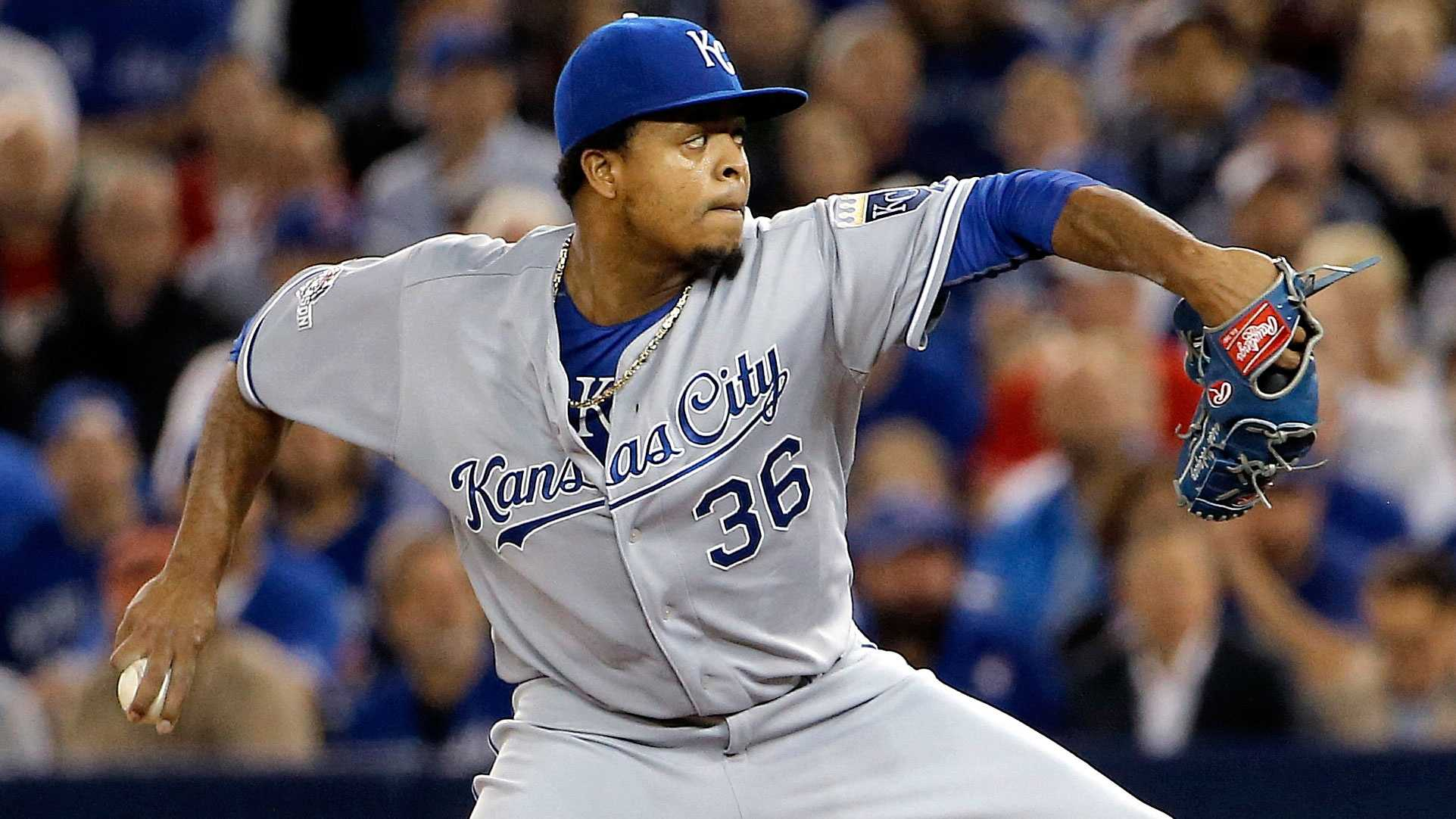 Edinson Volquez pitched well through five innings, but was outdueled by Toronto's Marco Estrada in Game 5 of the ALCS.