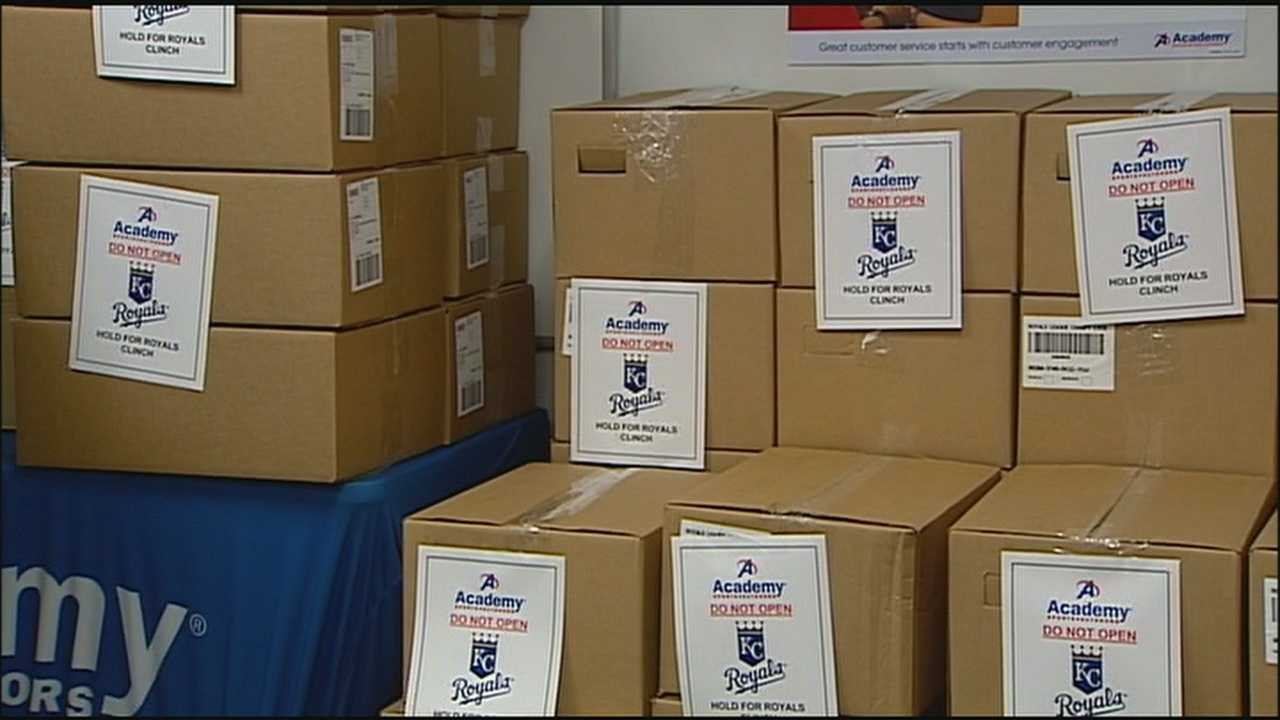 With the Royals on the verge of securing a return trip to the World Series on Wednesday, employees at stores selling postseason gear were ready to get new merchandise on the shelves.