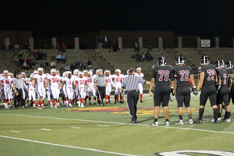 The Olathe North Eagles visited the Lawrence High Chesty Lions Friday night.