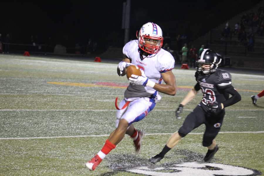 Olathe North found its tallest target at wide receiver, Isaiah Simmons, in the fourth quarter.