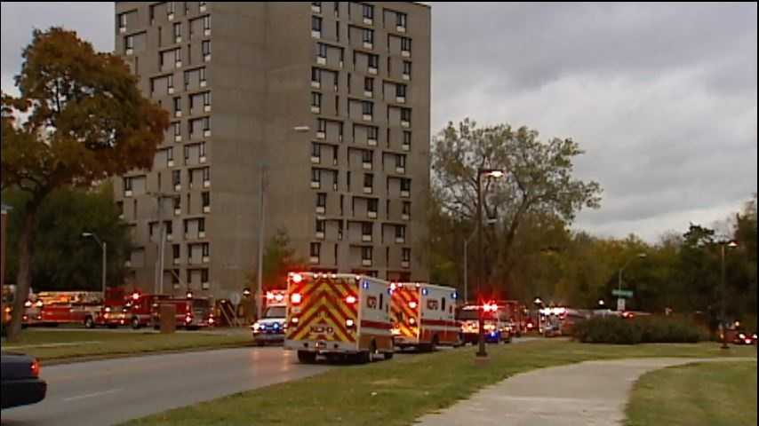 Four people were treated for minor smoke inhalation after a fire Saturday mornng destroys an apartment at Brush Creek Tower Apartments.