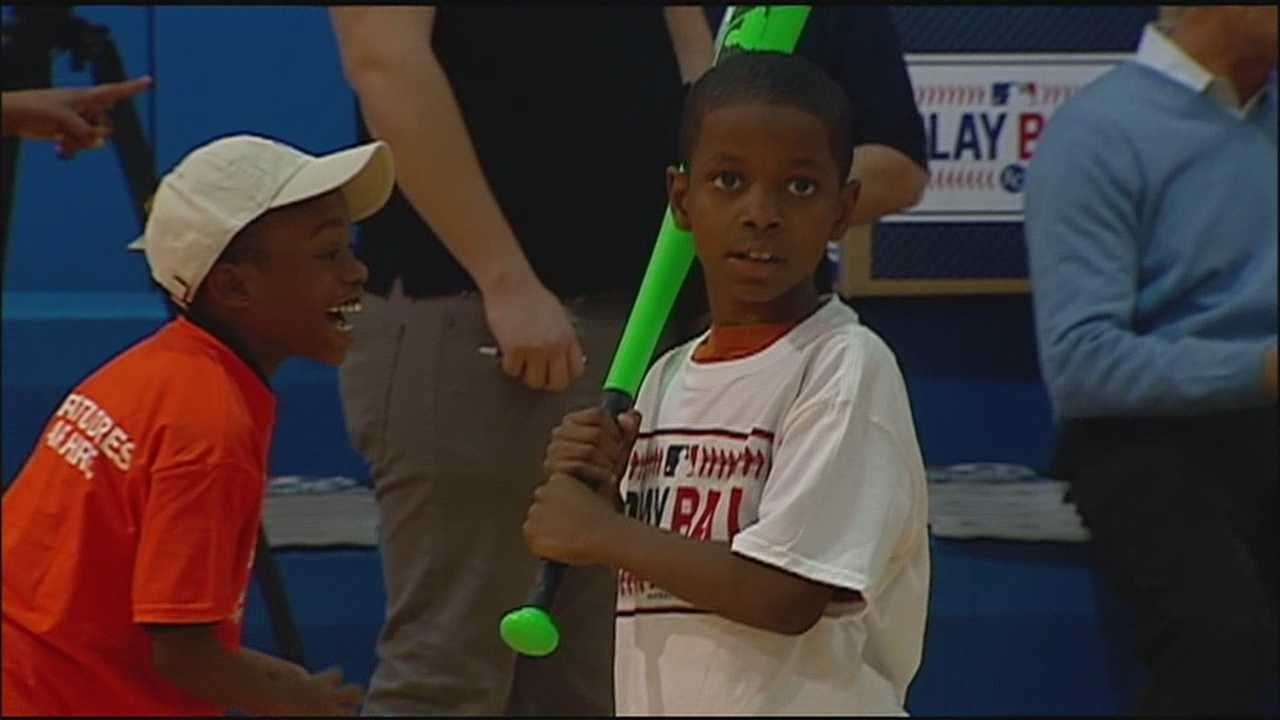 The commissioner of Major League Baseball spent the day with some Kansas City kids at the Boys & Girls Club.