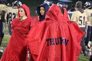 William Chrisman faced Truman High School in the KMBC HyVee Game of the Week Friday night.  A heavy downpour of rain began before pregame warm-ups and continued.