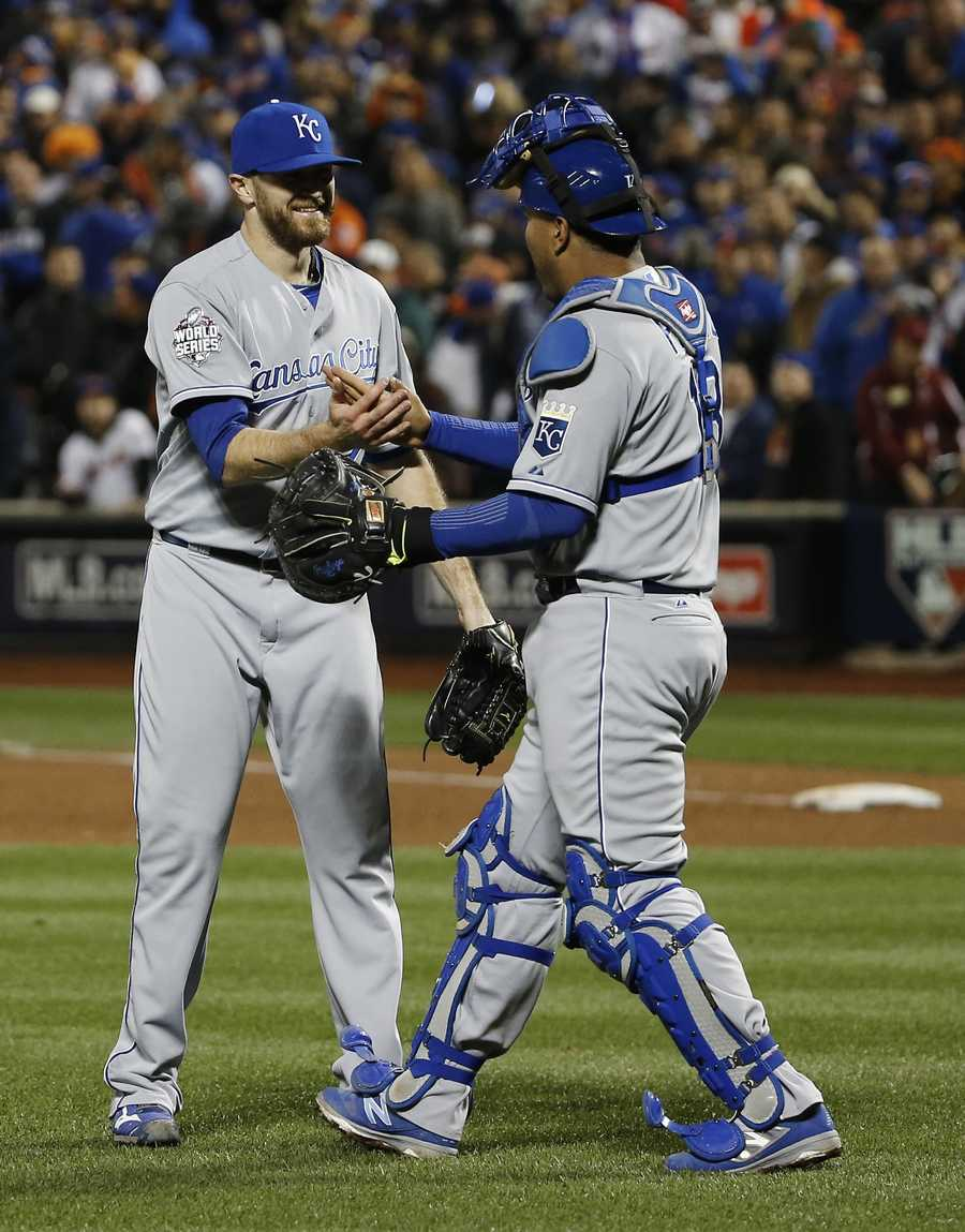 -Glove used by Royals catcher and World Series Most Valuable Player Salvador Perez throughout the Series-Road cap worn by Royals closer Wade Davis, who struck out eight batters in four innings of work and notched the Series' only save