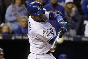 -Bat used by Royals shortstop Alcides Escobar, who scored four runs and drove in four more in the Series