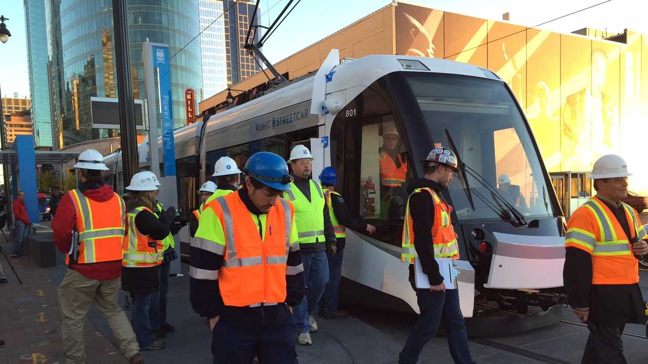 Authorities give Kansas City's streetcar a road test Friday morning. The streetcar was towed along the tracks by another vehicle.