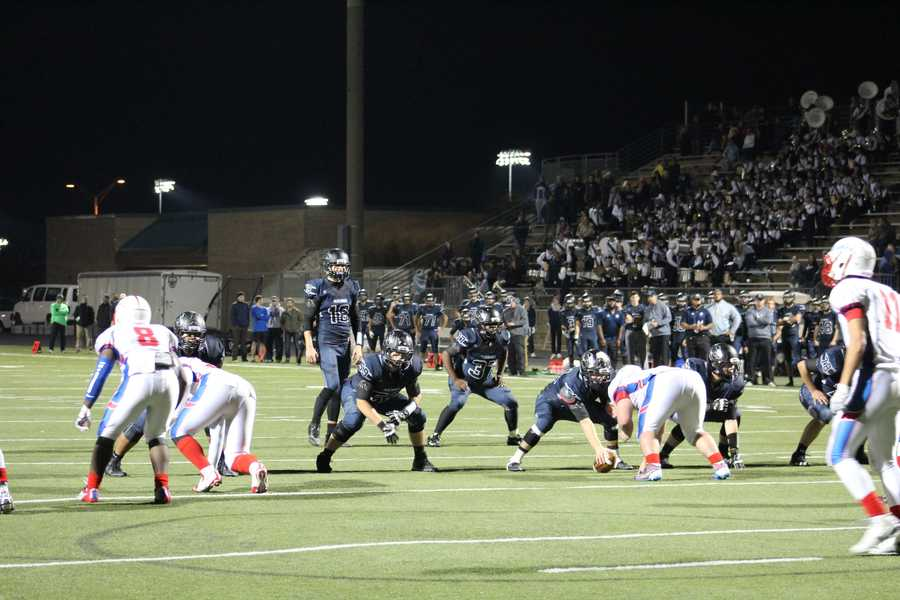 Olathe North's defense held strong.  Eagles win, 35-28, and advance in the playoffs.