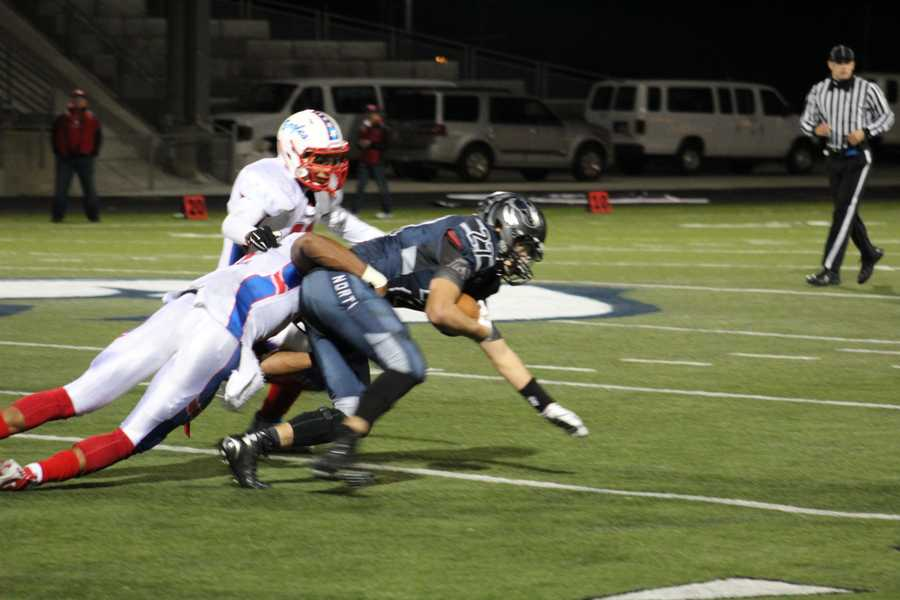 Bllue Valley North hosted Olathe North in a playoff game Friday night.  The teams were tied 21-21 after one quarter.