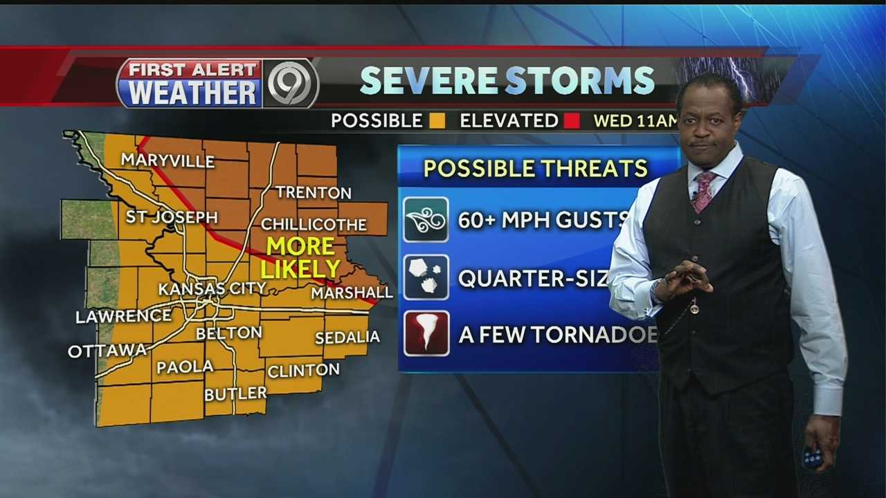 A system pushing through the region could bring strong and severe weather, including damaging wind, hail and even the chance for a tornado on Wednesday. The biggest threat appears to be north and east of Kansas City.