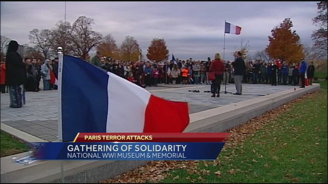 An event at the Liberty Memorial brought people from across Kansas City together to express support for France in the wake of Friday's terrorist attacks in Paris.