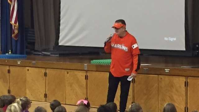Marlins Man, Laurence Levy, was invited to speak to students at Mill Creek Elementary School on Tuesday.