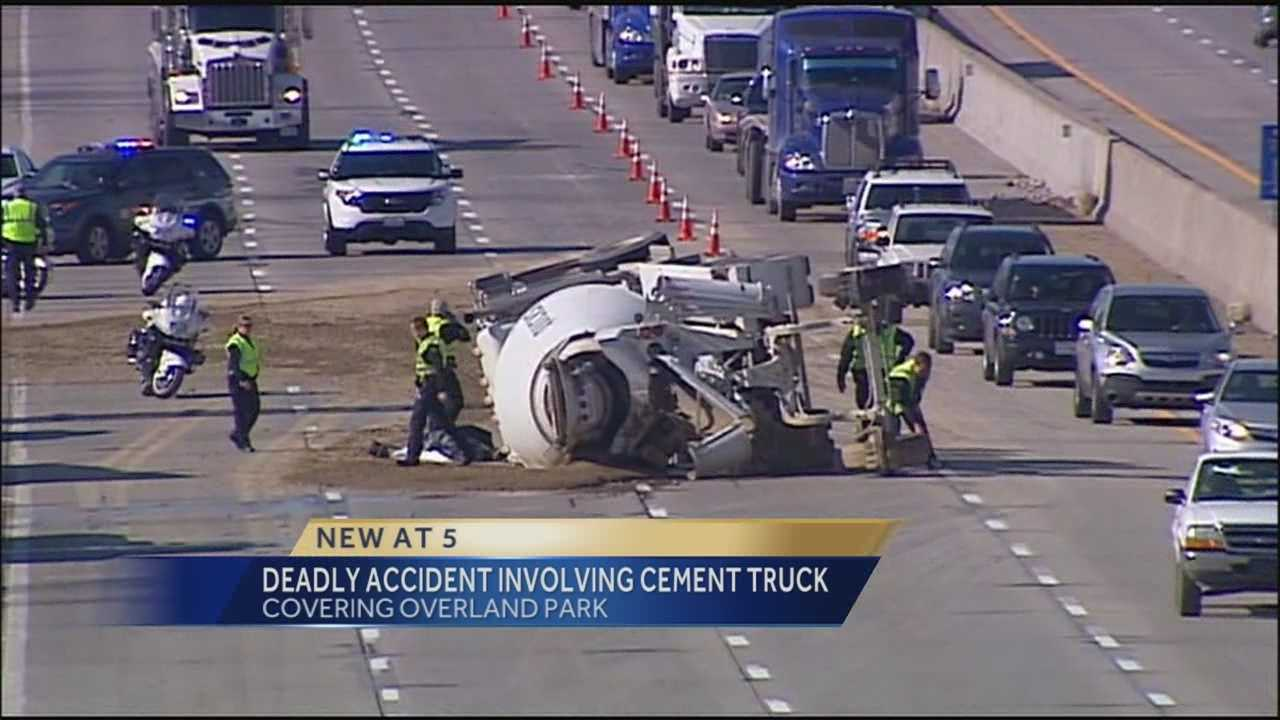A fatal crash involving a cement mixer tied up traffic for much of the afternoon on eastbound I-435 in Overland Park