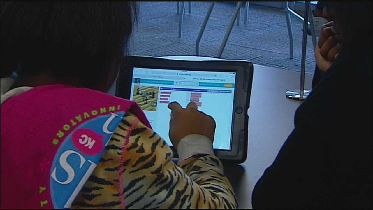 A group of 40 teenage girls from the Hickman Mills School District gathered Wednesday to write computer code.