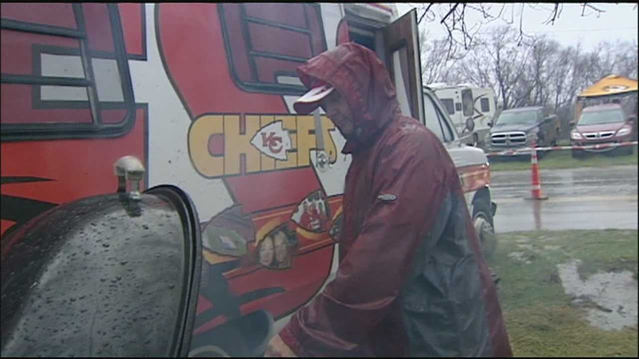 Temperatures were warmer than usual for a mid-December Chiefs game, but a day-long downpour created an extra opponent for the team and its tailgaters.