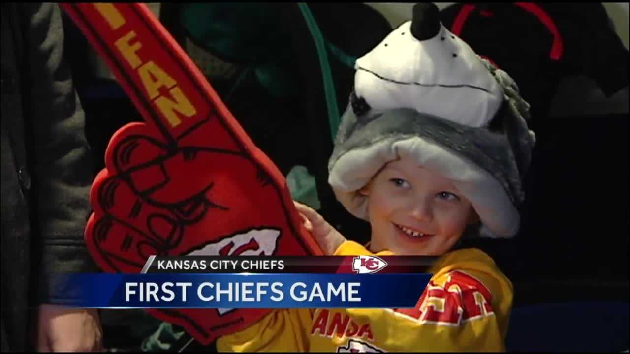 A lot of Chiefs fans braved Sunday's cold to see the team beat the Oakland Raiders, but the game was unforgettable for a very young fan battling cancer.