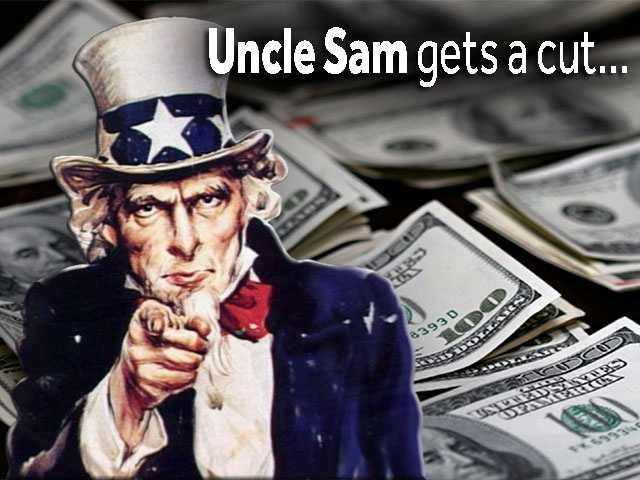 Uncle Sam is going to take a pretty large cut - nearly 40%.But you're in the 1% now, so you can handle it no sweat. Federal taxes drop your take home amount down to around $561 million.But the state and local municipalities get a chunk, too.