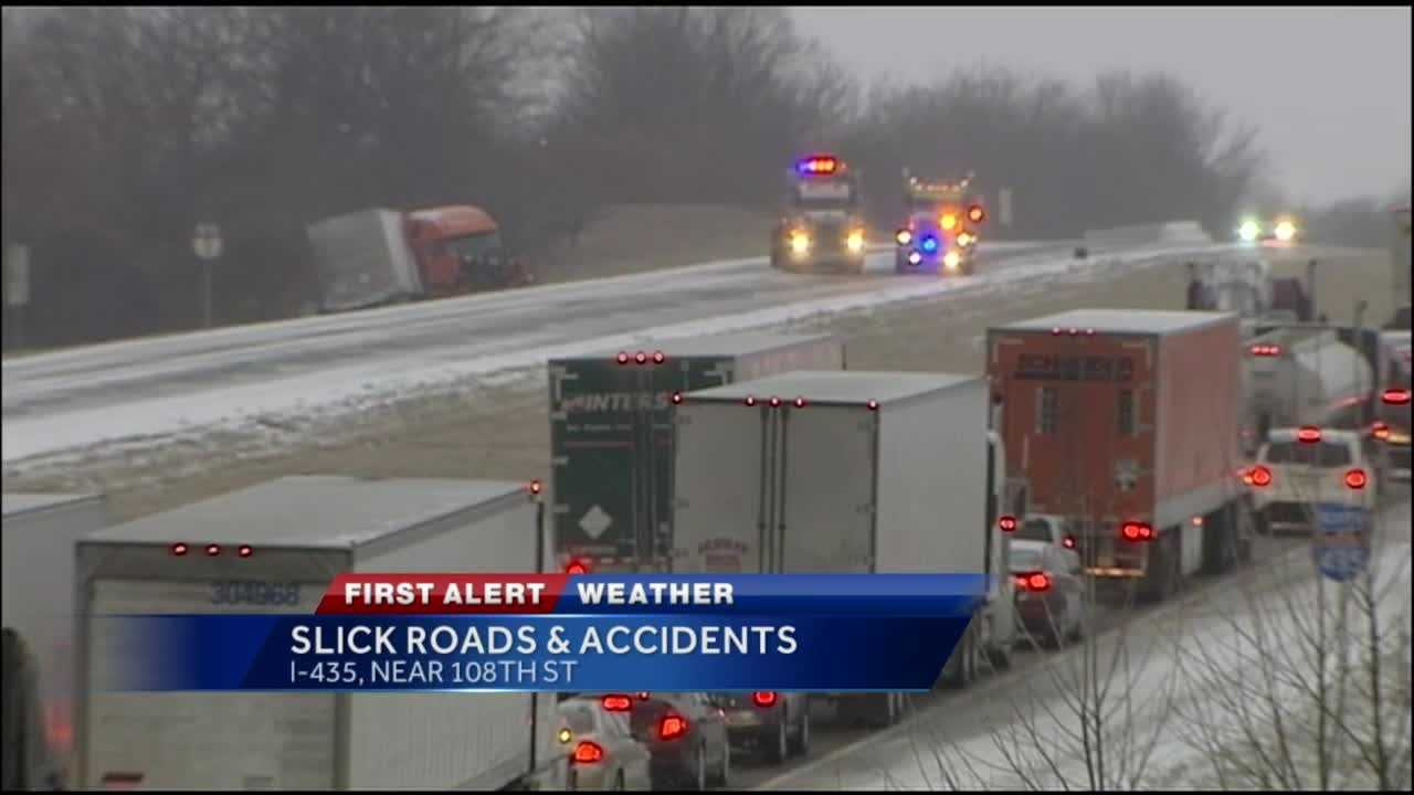 While reports of fender benders started coming in by mid-afternoon, things got worse when a big rig slid off Interstate 435 near Cookingham Drive.