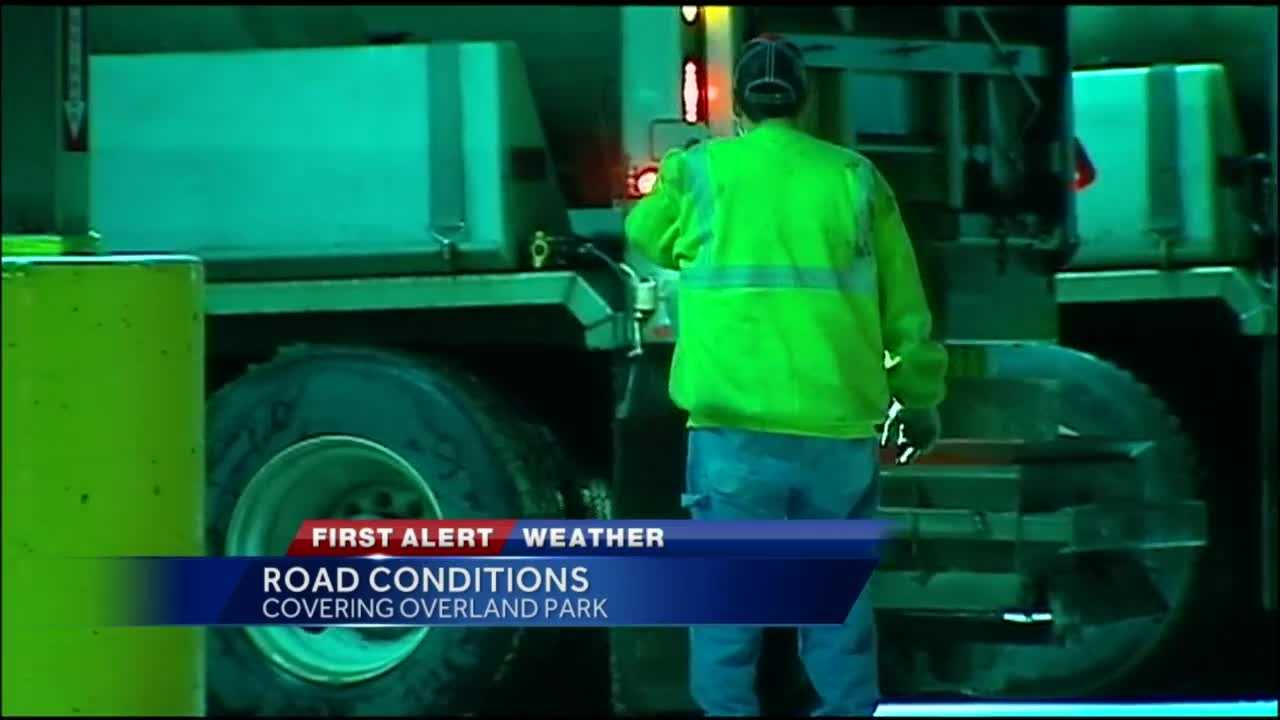 The snow may have stopped Tuesday night in Overland Park, but crews are working hard to make sure the roads will be in the best possible condition for the Wednesday morning commute.