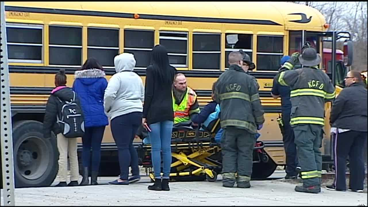 Seven children were taken to a hospital with minor injuries after a school bus crash in Kansas City early Tuesday.
