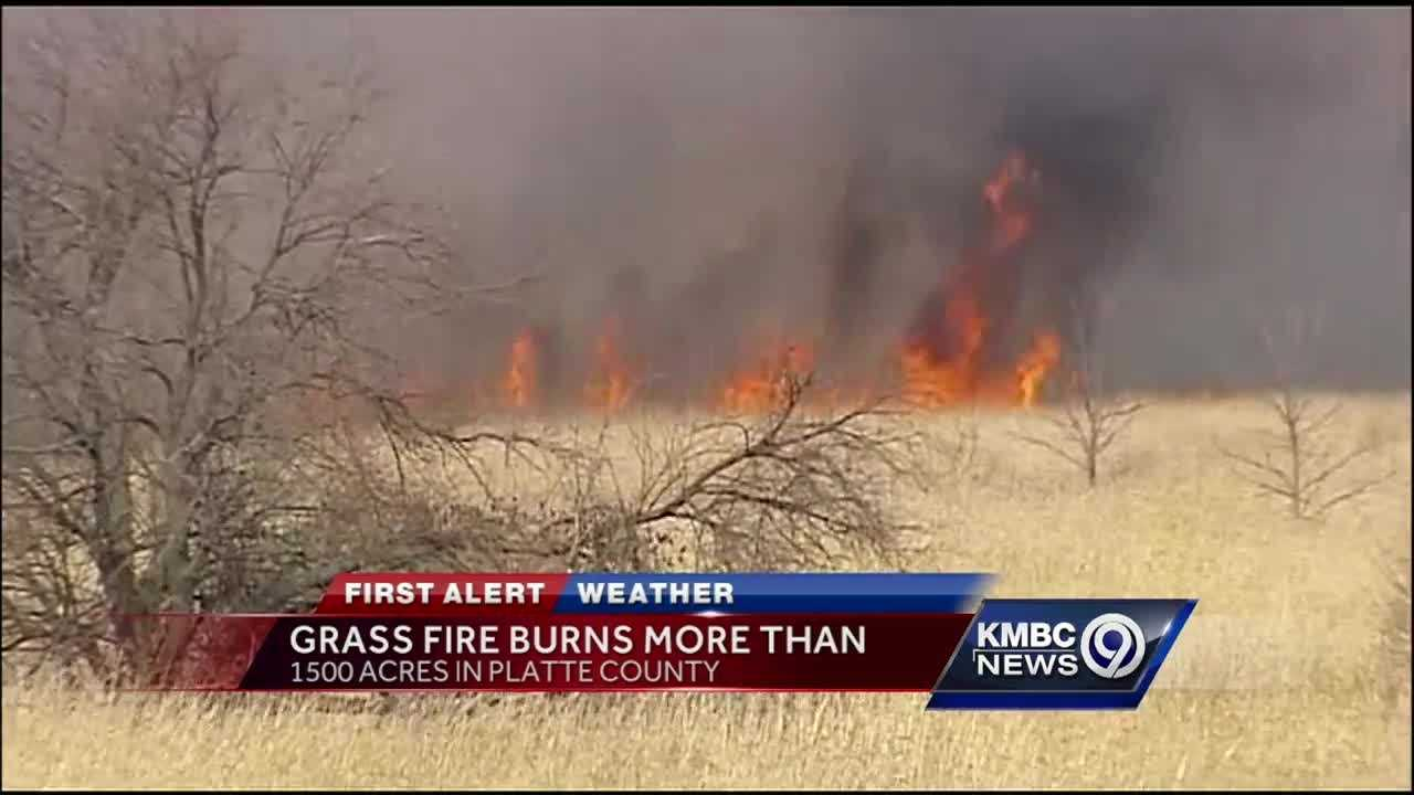 About 1,500 acres burned Thursday in a grass fire blamed on lawnmowing equipment and fueled by high wind.