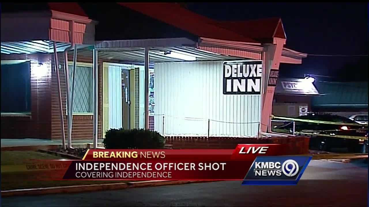 Independence police said an officer suffered a gunshot wound during an incident at a motel on Wednesday evening.