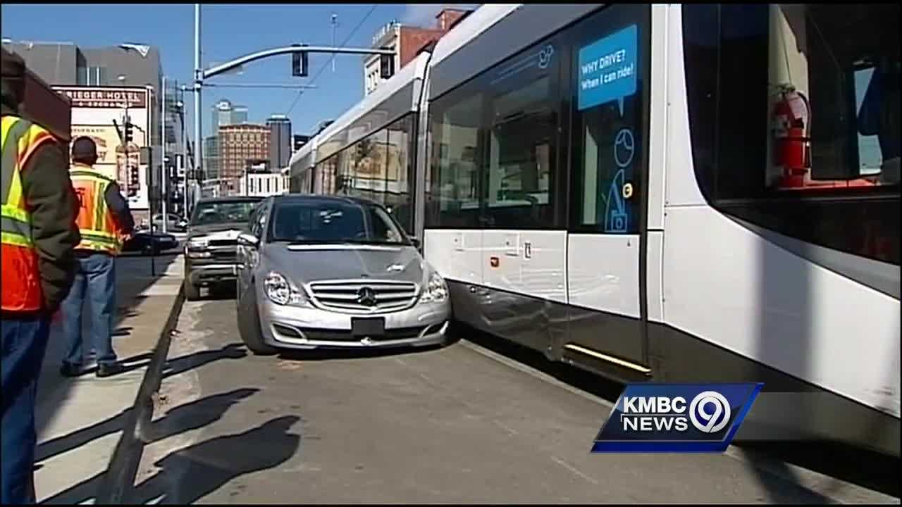 The sideswipe collision between a Kansas City streetcar and a parked car Tuesday is being blamed on a driver who illegally parked.