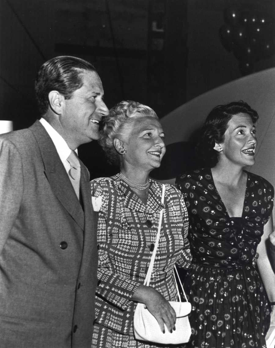 Actress Nancy Davis with her parents Dr. Loyal Davis and Edith Davis in Hollywood, California in the 1940s.