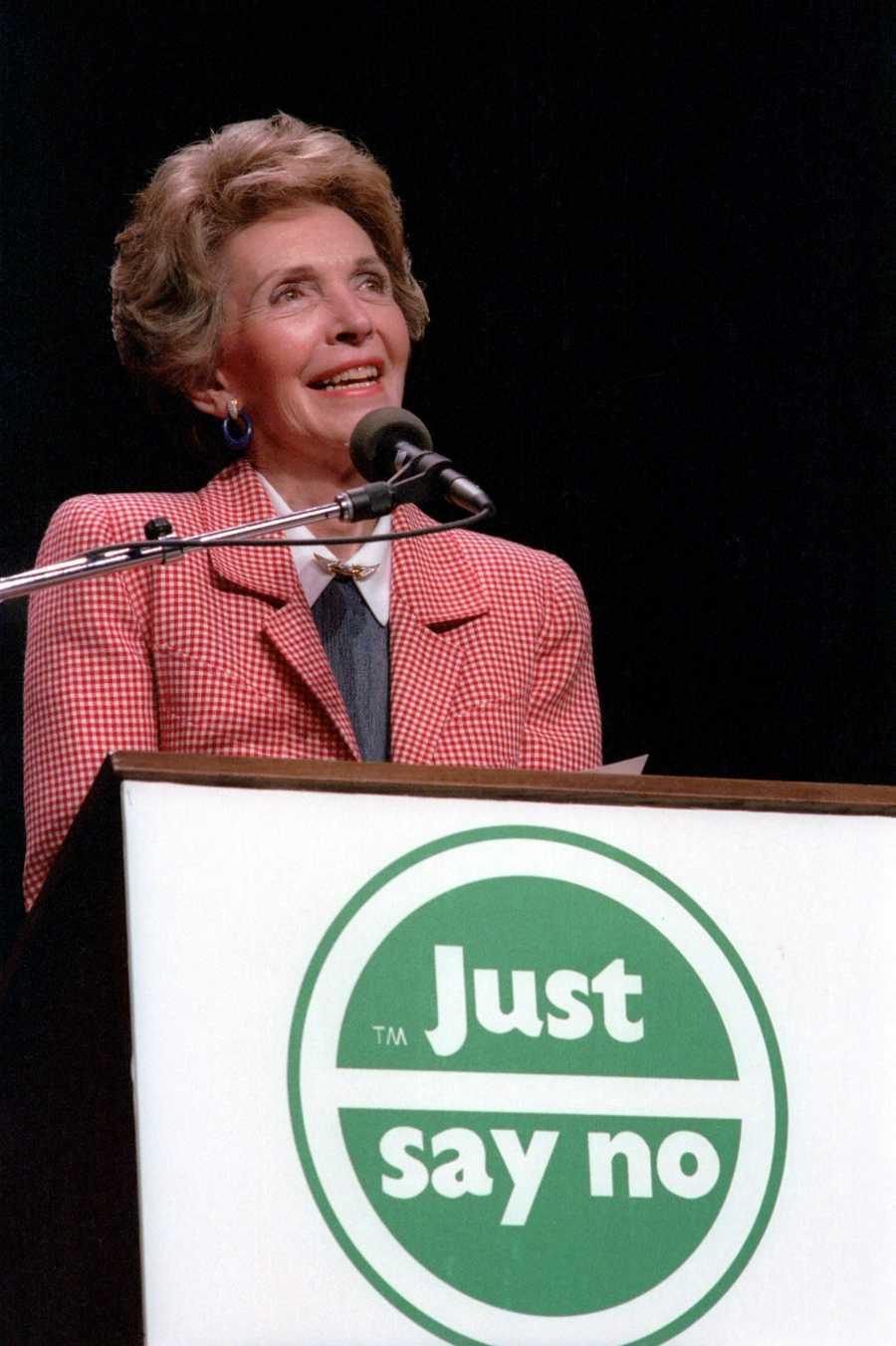 """Nancy Reagan at a """"Just Say No"""" rally at the Universal Amphitheater at Universal City, California. (May 13, 1987)"""