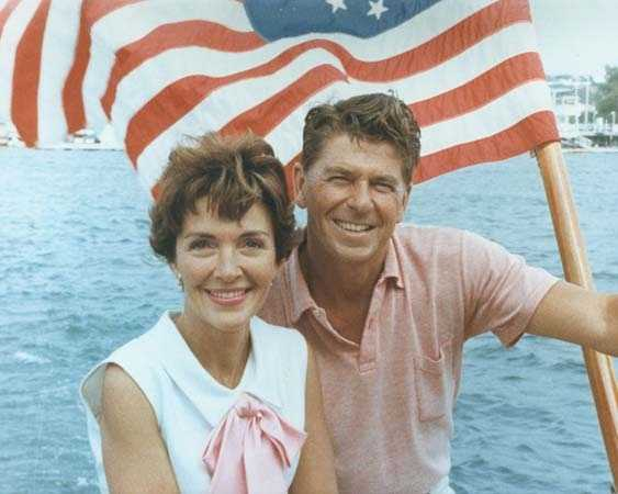 Ronald and Nancy Reagan on a sailboat off southern California. (August 1964)