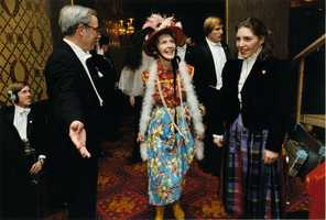 """Nancy Reagan in her """"Second-Hand Clothes"""" costume for the Gridiron Club Annual Dinner in Washington, D.C. (March 27, 1982)"""
