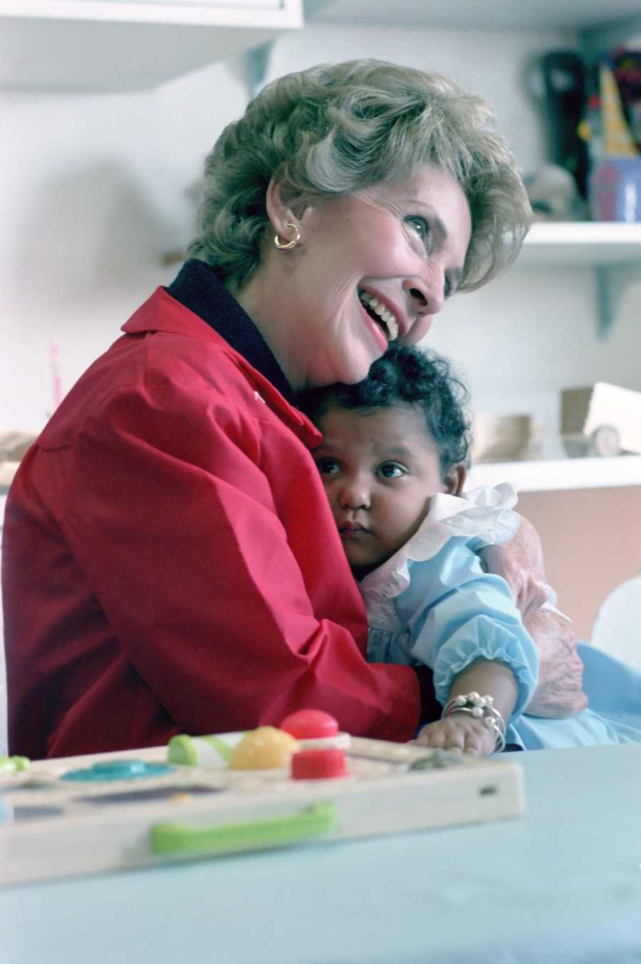 First Lady Nancy Reagan visits Columbia Presbyterian Medical Center as part of her foster grandparent program. (Oct. 27, 1982)