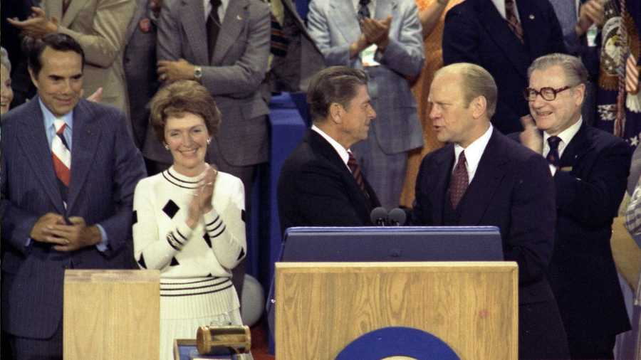 Nancy Reagan pictured with Bob Dole, Ronald Reagan and President Gerald Ford at the 1976 Republican National Convention in Kansas City.