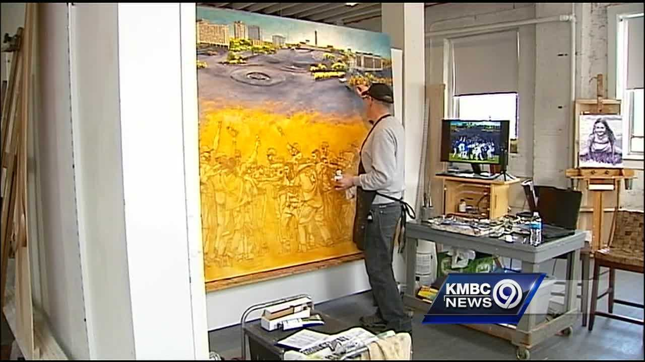 A Kansas City-area painter is creating a mural to commemorate the Royals' World Series win last fall.
