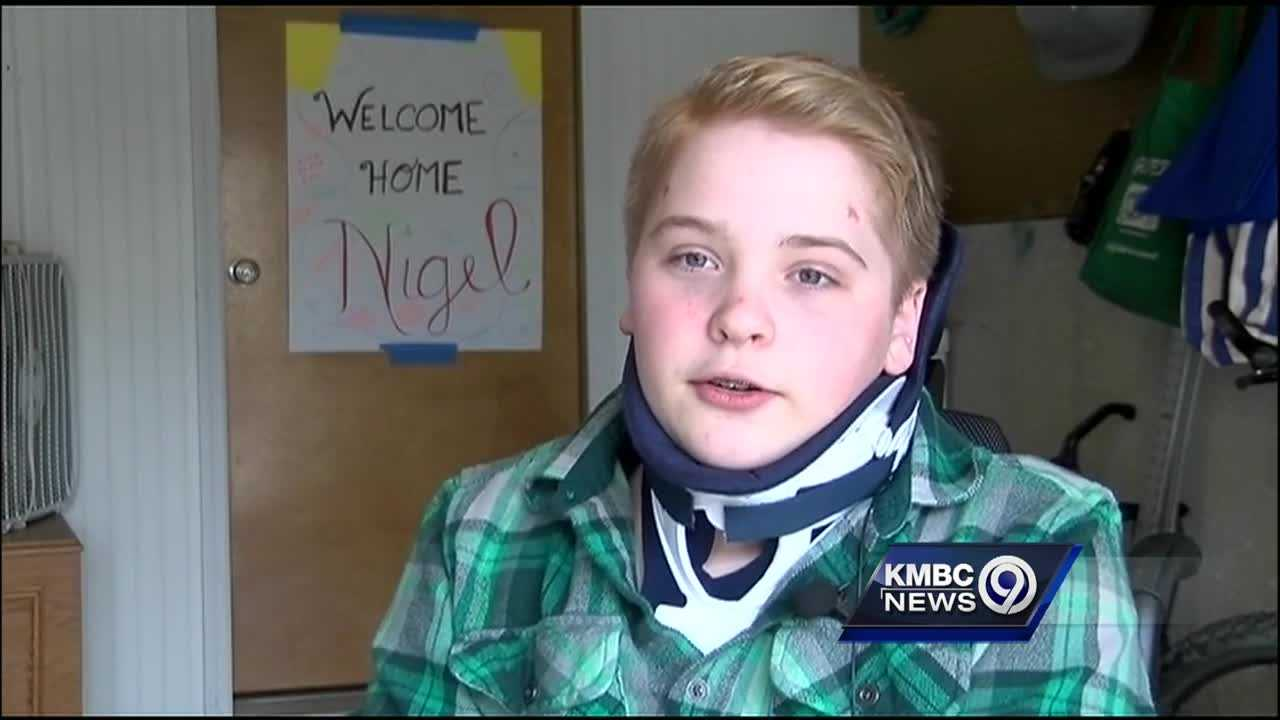 Nigel Charlson, a Blue Valley High School student, is back at home following three months of intense therapy in Colorado after he was injured in a swimming accident on Dec. 18, 2015.