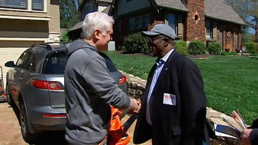 Kansas City Mayor Sly James campaigned Saturday for the Earnings Tax in Brookside.