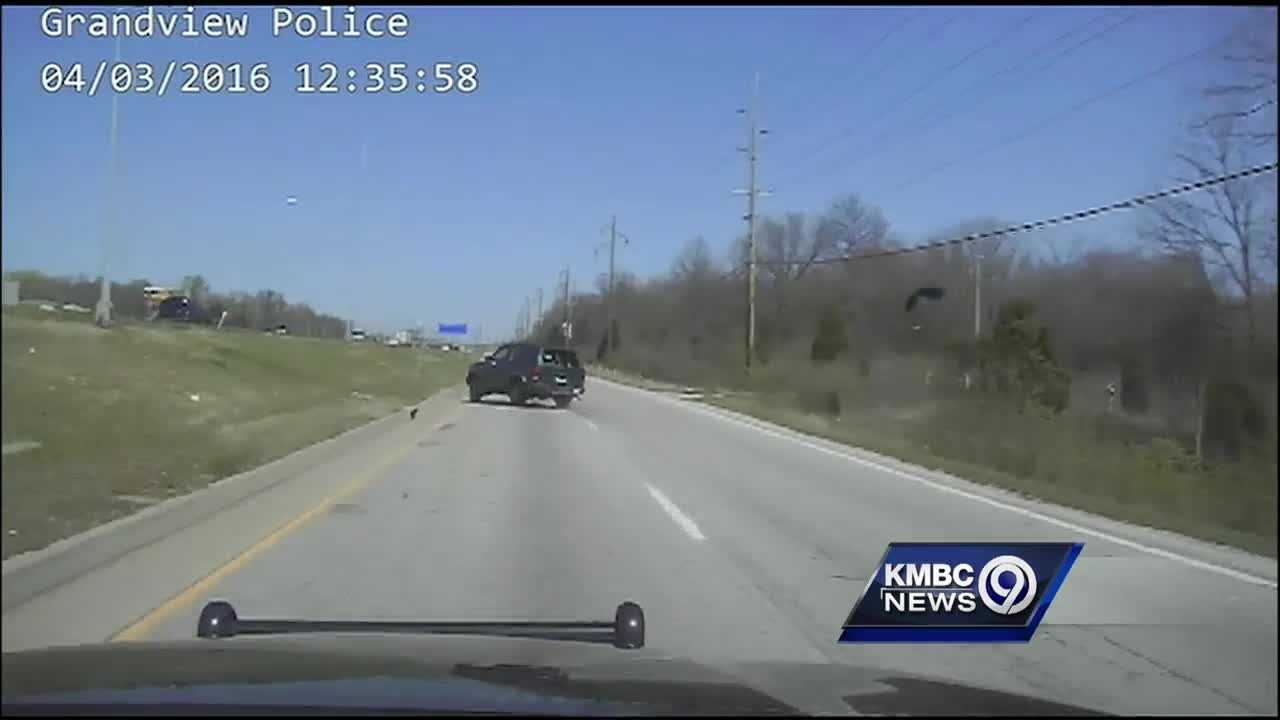 Grandview police release dashcam video of a rollover crash on Sunday near Missouri 150 and Interstate 49.