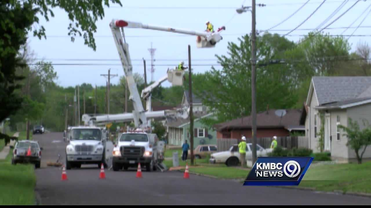 Utility crews spent the day in Sedalia working to restore power knocked out by a wave of storms Tuesday morning.