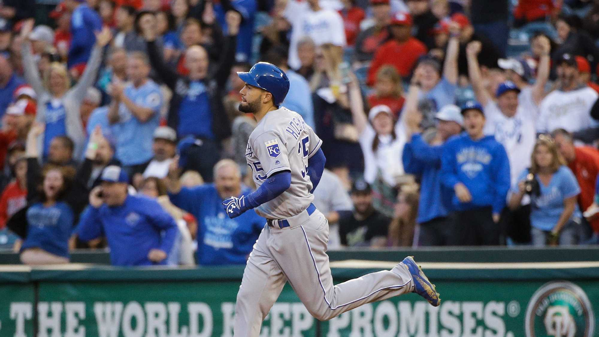 Fans cheer as Kansas City Royals' Eric Hosmer rounds the bases after hitting a two-run home run during the first inning of a baseball game against the Los Angeles Angels, Wednesday, April 27, 2016, in Anaheim, Calif. (AP Photo/Jae C. Hong)