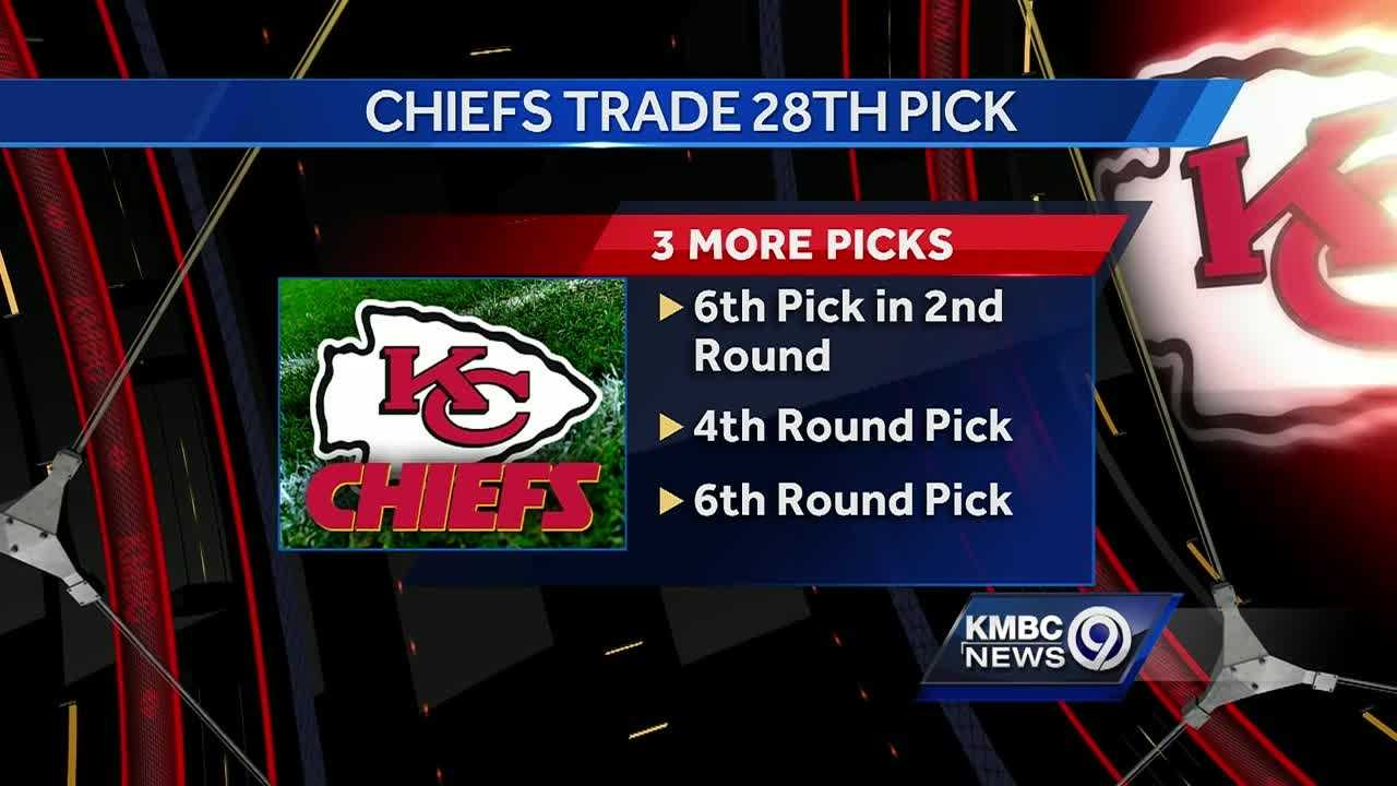 The Kansas City Chiefs traded their 28th-overall pick in the NFL Draft for three picks from the San Francisco 49ers.
