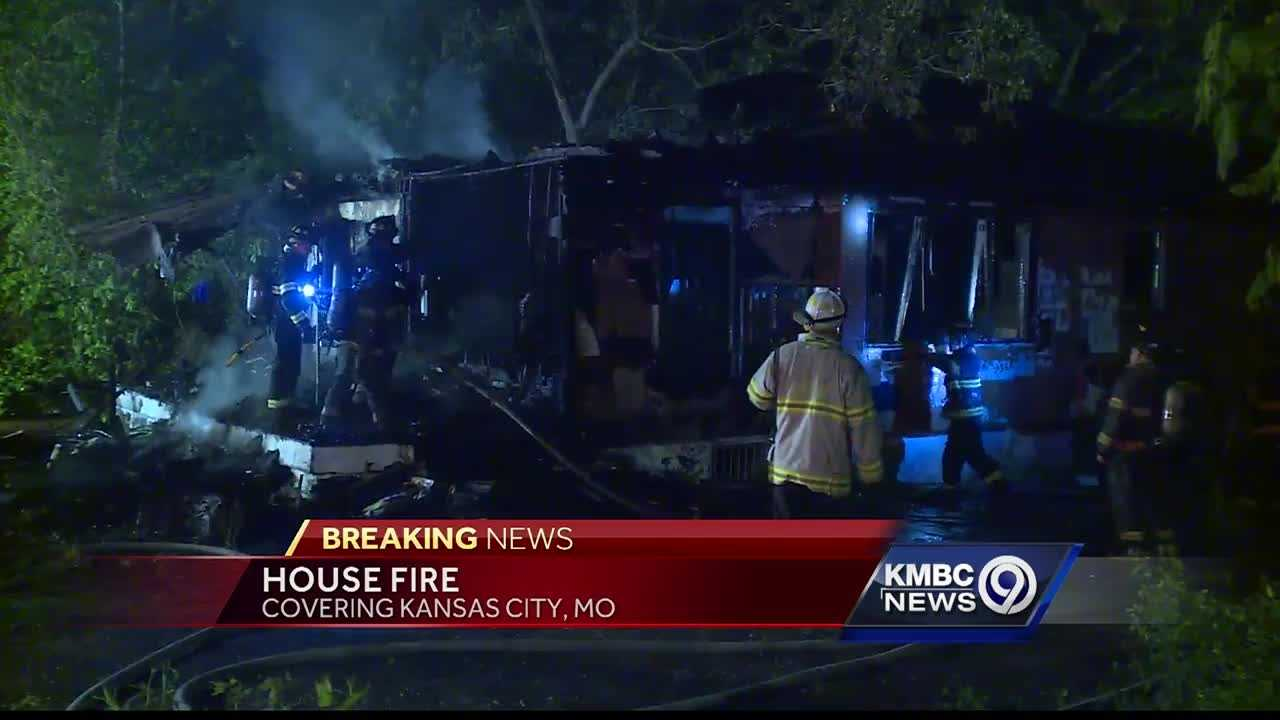 Fire destroyed a vacant home in east Kansas City Wednesday night but no one was hurt.