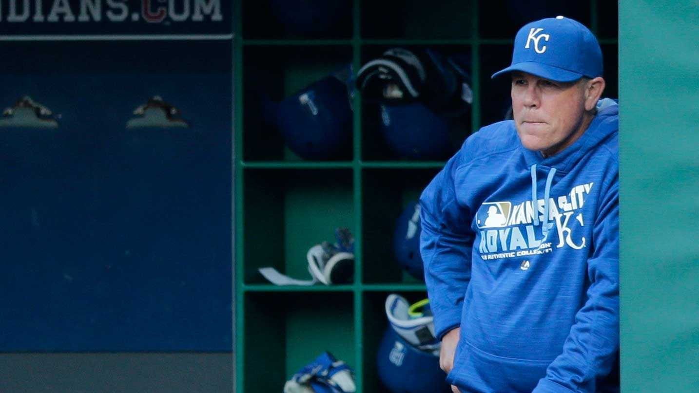 Kansas City Royals manager Ned Yost watches in the first inning of a baseball game against the Cleveland Indians, Friday, May 6, 2016, in Cleveland. (AP Photo/Tony Dejak)