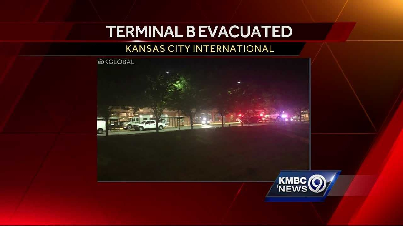 Part of Terminal B at Kansas City International Airport was evacuated late Saturday after the discovery of a suspicious object.