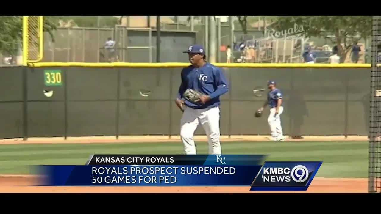 Royals prospect Raul Mondesi Jr. has received a 50-game suspension after testing positive for a banned substance he says was in cold medicine.