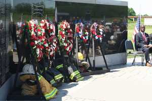 The names of the four firefighters were added to the memorial, which sits on the northwest side of the Kingdom City interchange along I-70.