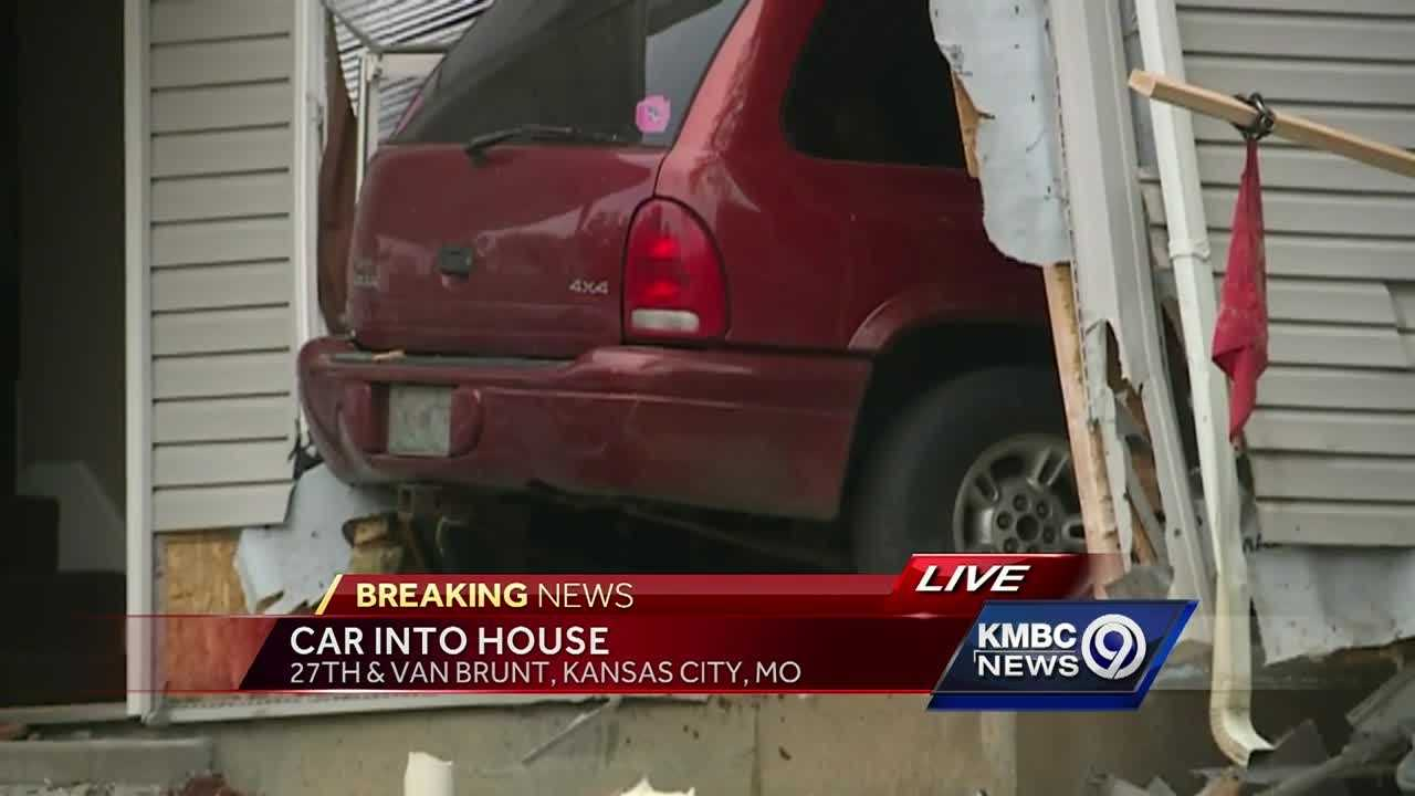 The driver of an SUV said she lost her brakes before crashing into a Kansas City home Sunday afternoon.
