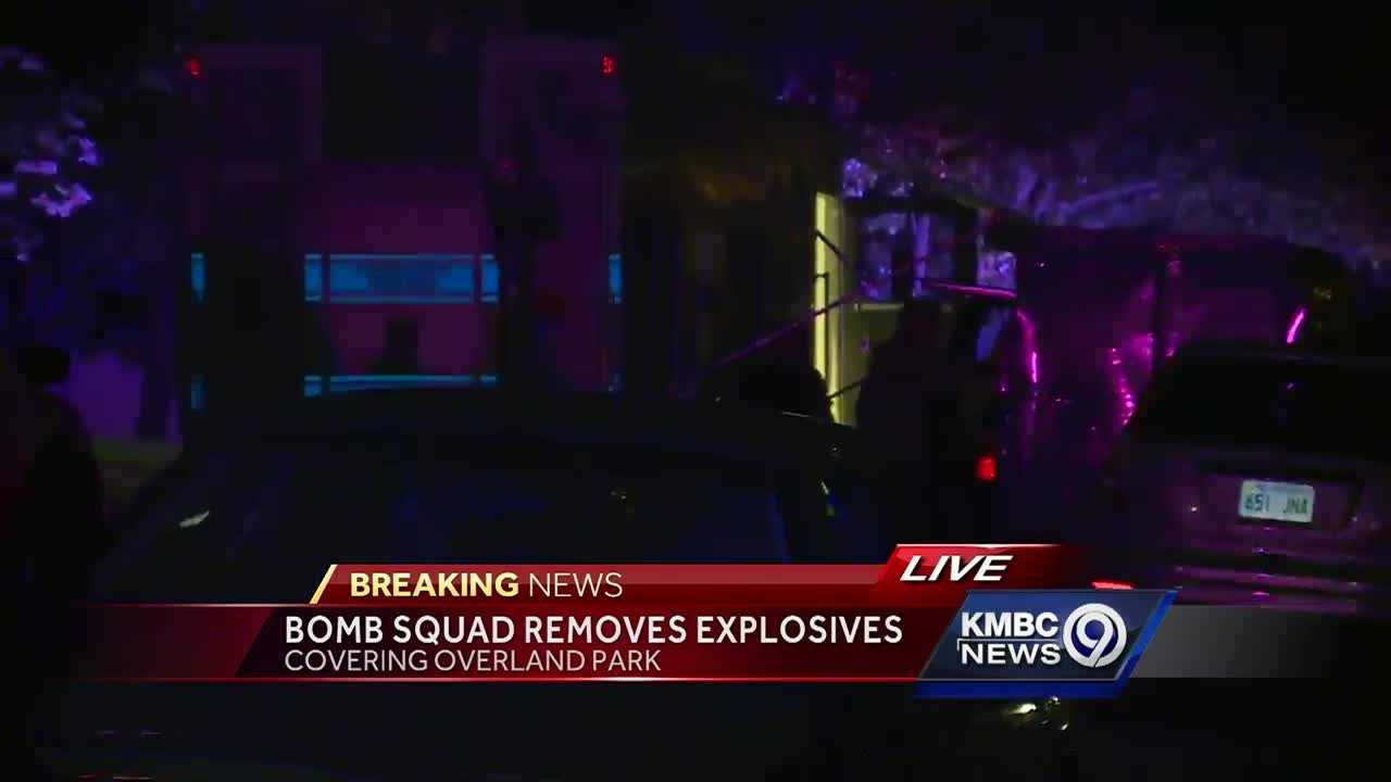Police said a bomb squad found explosives inside an Overland Park home Thursday evening.