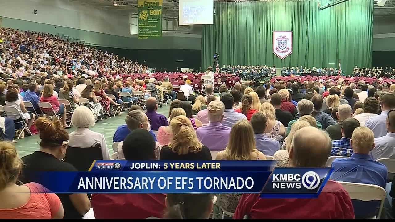 On the fifth anniversary of Joplin's devastating tornado, a high school graduation helped people remember the victims.