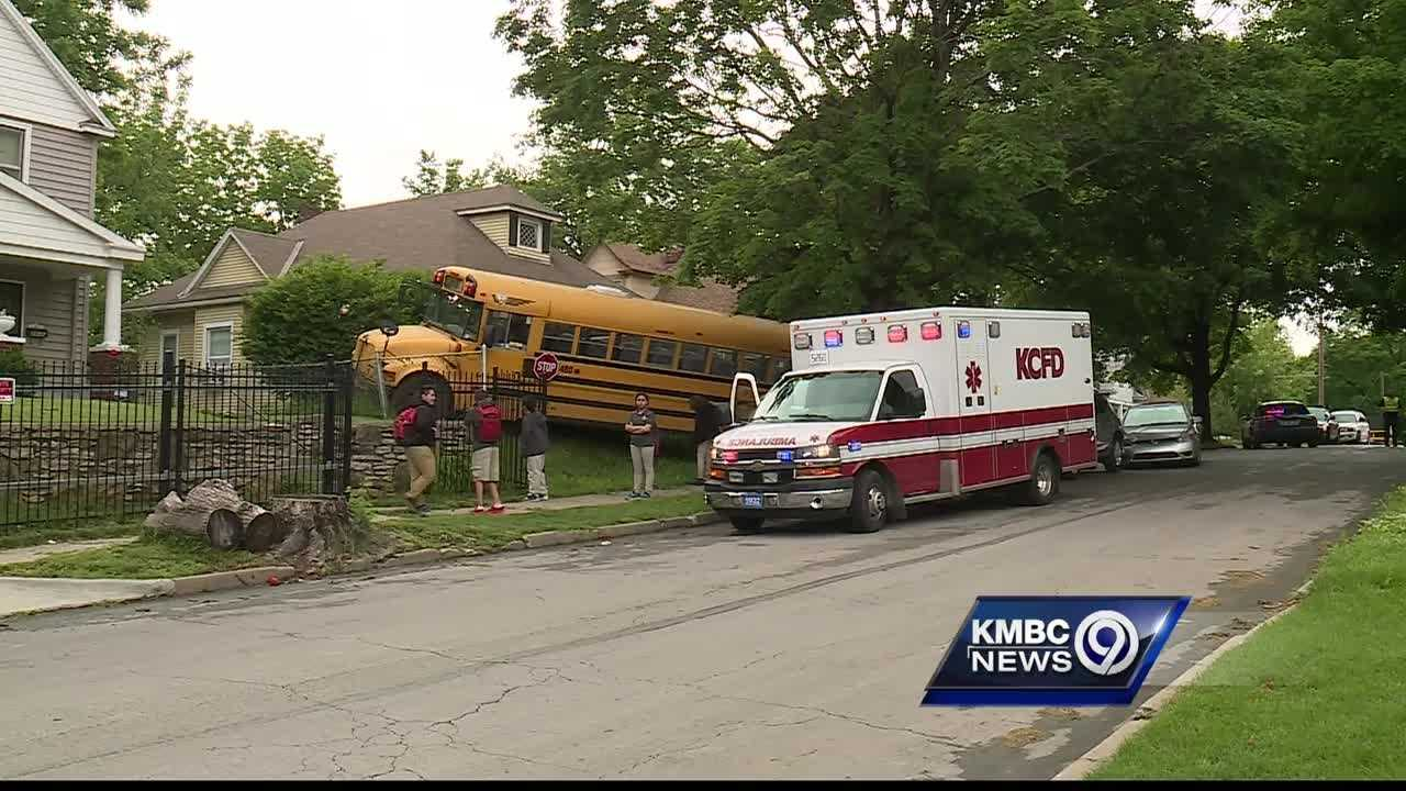 Police said they're trying to figure out what caused a school bus driver to crash in a Kansas City neighborhood on Monday afternoon.