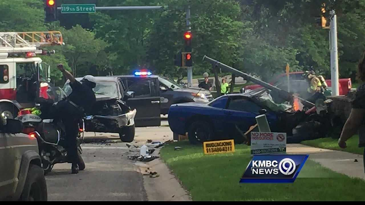 Five people went to a hospital after a fiery street-racing crash in Overland Park late Wednesday afternoon.
