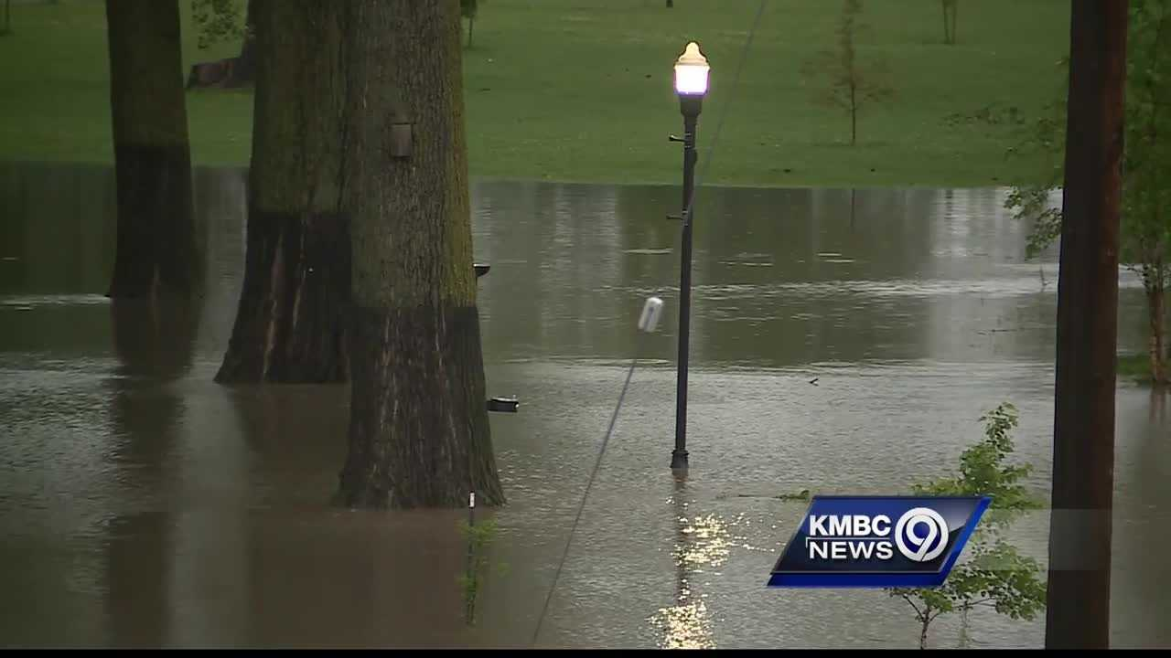 Thursday's heavy rain left a popular Parkville gathering spot flooded.